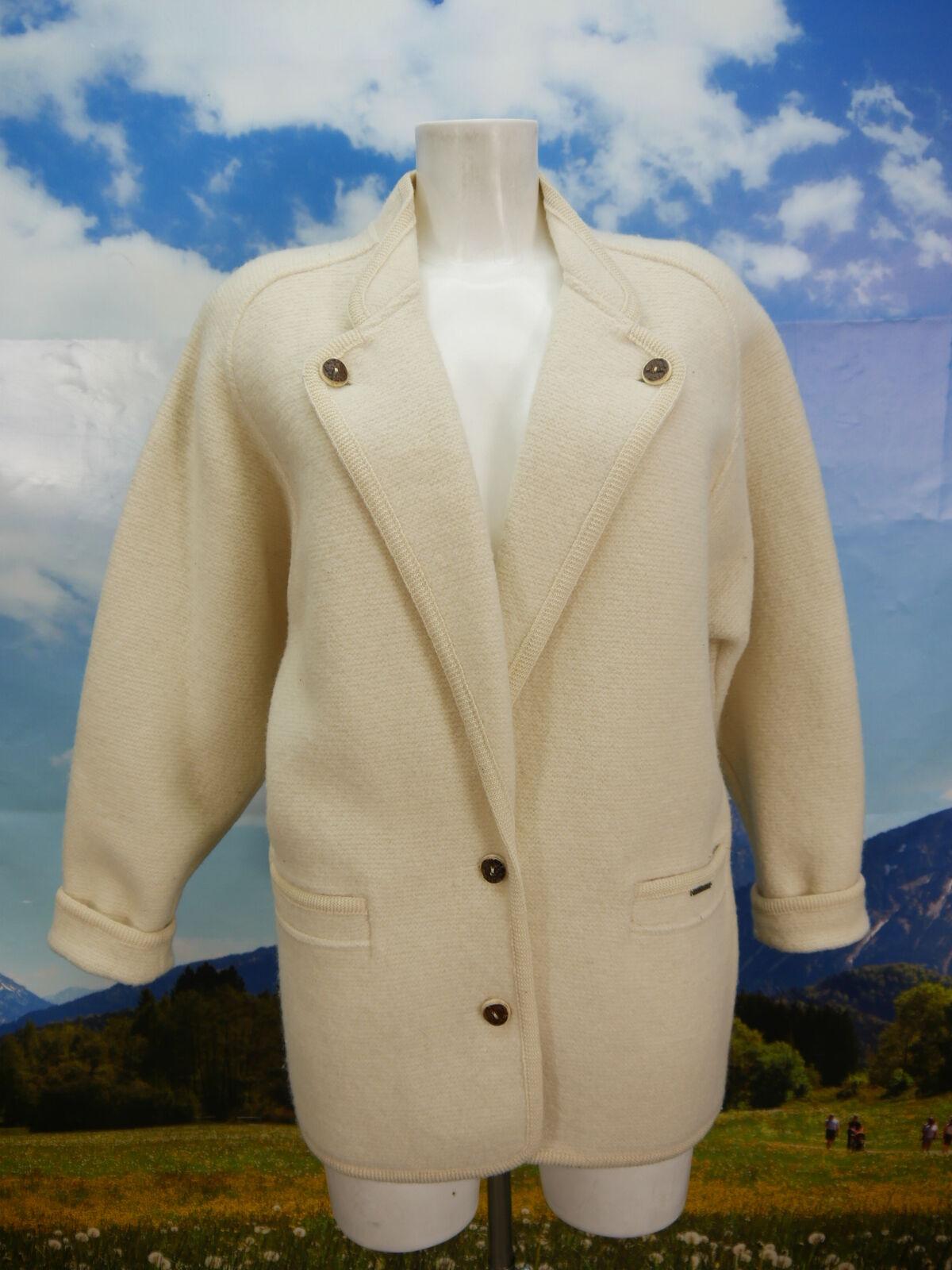 Geiger mit überschnittener Schulter Walkjacke weiß Trachtenjacke Jacke Gr.38