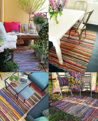 3 X 6 Ft Colorful Multicolor Boho Chindi Woven Area Rag Rug Indian Bohemian Acce