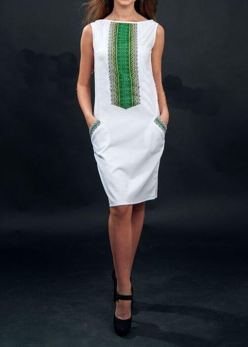 Women's dress white vyshyvanka green embroidery Ukrainian folk clothing.