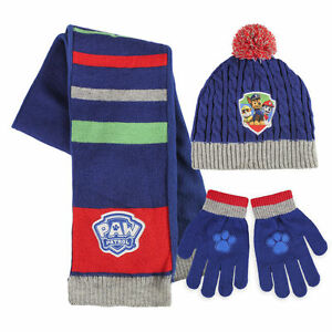 98b6be196ae Boys Girls Kids Official Paw Patrol Winter Hats   Hat Gloves And Scarf Sets