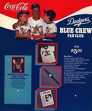 SPORTS POSTER~1980's Coke Los Angeles Dodgers Tommy Lasorda Coca Cola Blue Crew~