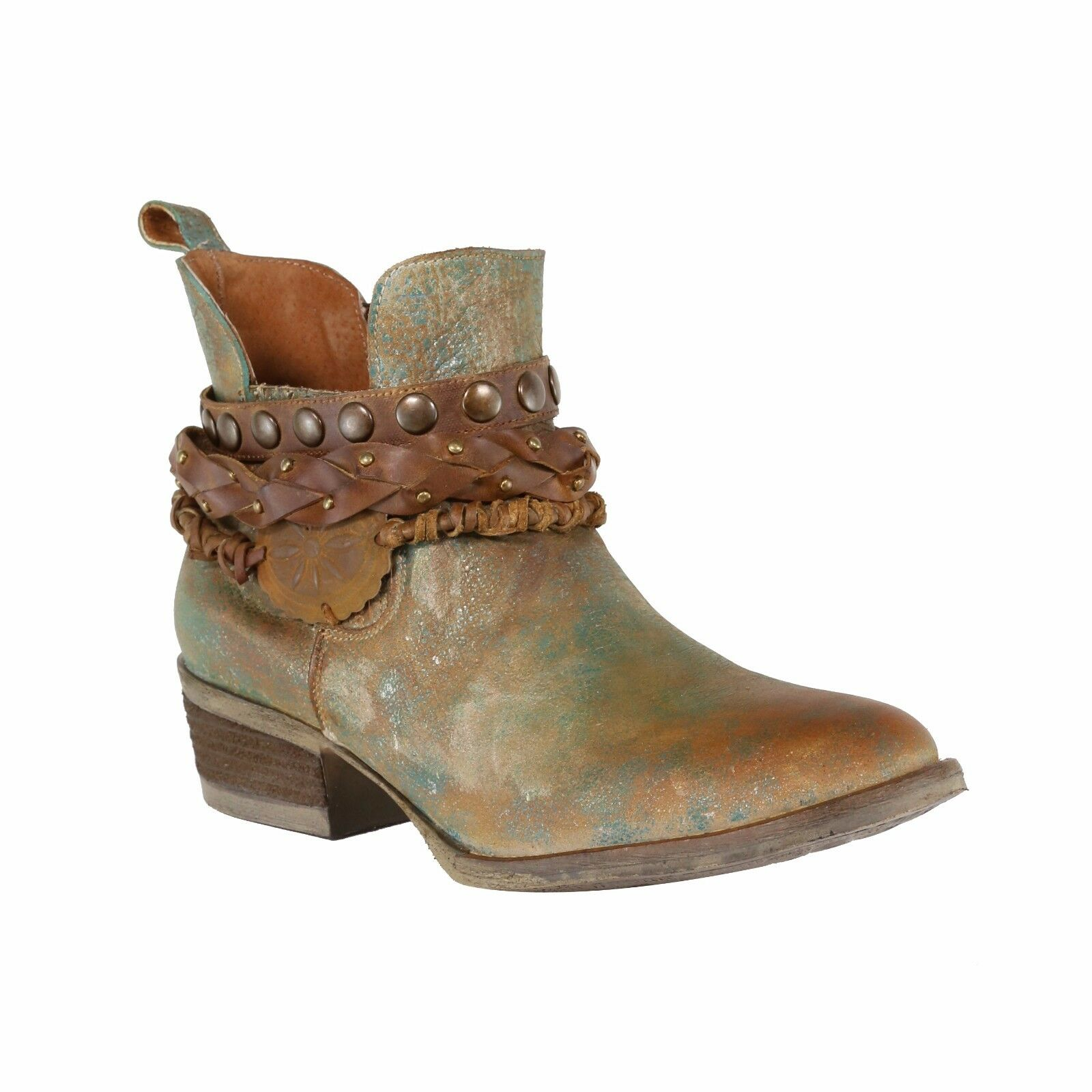 Circle G by Corral Ladies Green Harness & Stud Shortie Boots Q5002
