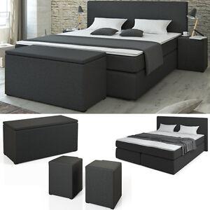 boxspringbett bett hotelbett ehebett doppelbett schwarz. Black Bedroom Furniture Sets. Home Design Ideas