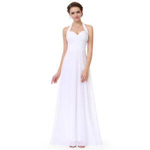 Ever-Pretty-Wedding-Bridesmaid-Long-White-V-neck-Dress-Evening-Prom-Gown-08487
