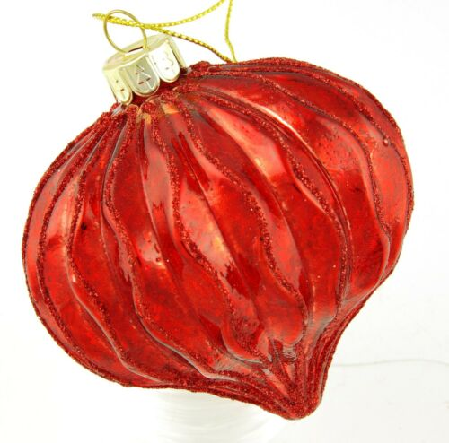 A050 Bright Red Glass Onion Ball Glitter Edged Bauble Christmas Ornament 8cm