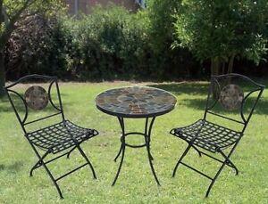Tavoli Mosaico Da Giardino.Set Da Giardino Tavolo Tondo E Due Sedie Pieghevoli Con Mosaico Mod