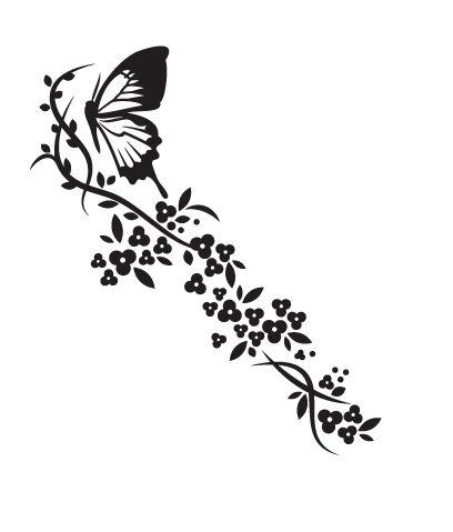Floral Butterflies 2 Vinyl Wall sticker decal Flowers