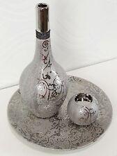 Deko Set 3-teilig Vase Teelicht Teller Dekoset Silber Geschenkidee
