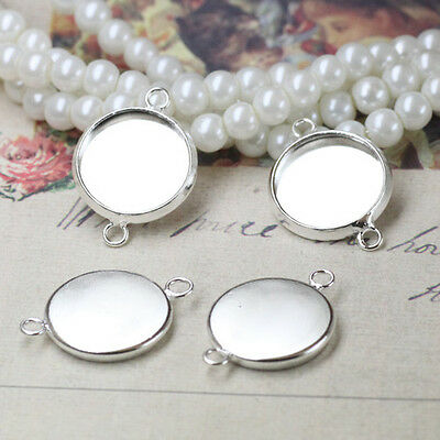 20pcs Antique Silver Flat Round with Flower Links Connectors DIY Making 17x11mm