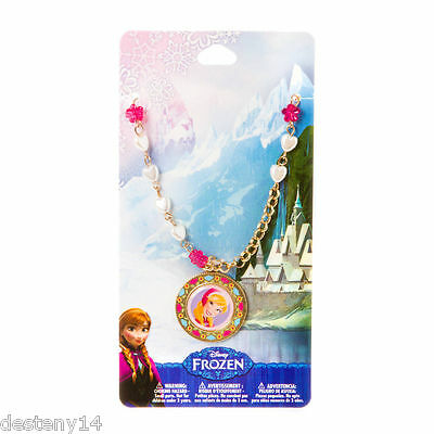 Disney Frozen Anna Pendant Necklace Gold Tone Heart Shaped Pearls /& Flowers NWT
