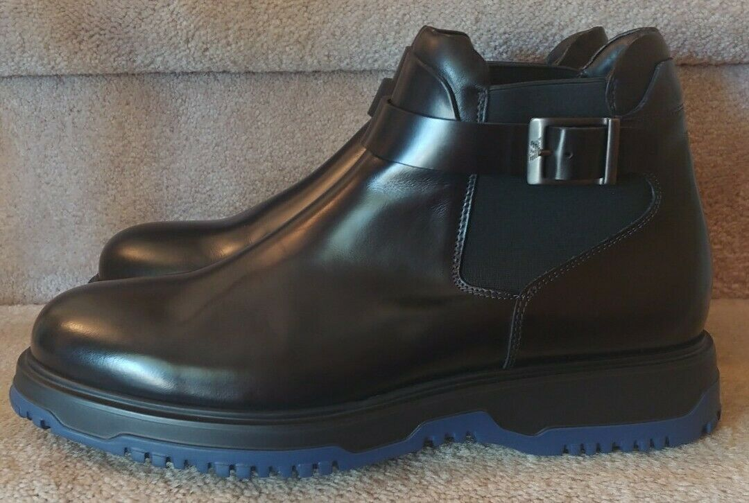 Emporio Armani Polished Black Leather Mens Ankle Boot NEW Size 10.5