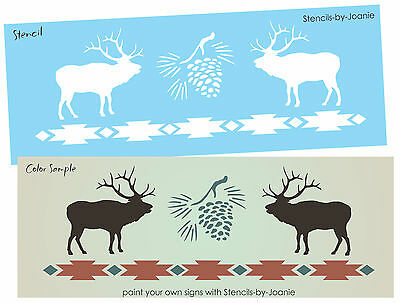 Rustic Country STENCIL Pine Cone ELK Cabin Lodge Decor Outdoor South West Signs