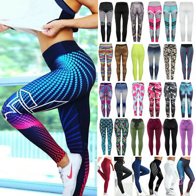 Women Yoga Pants High Waisted Floral Printed Leggings Sports Fitness Trousers US
