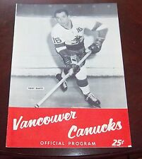Vancouver Canucks WHL game Program 1962-63 vs Seattle Totems Trent Beatty