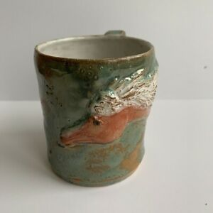 Horse-Hand-Thrown-Clay-Coffee-Mug-Handmade-Equestrian-Hand-Painted
