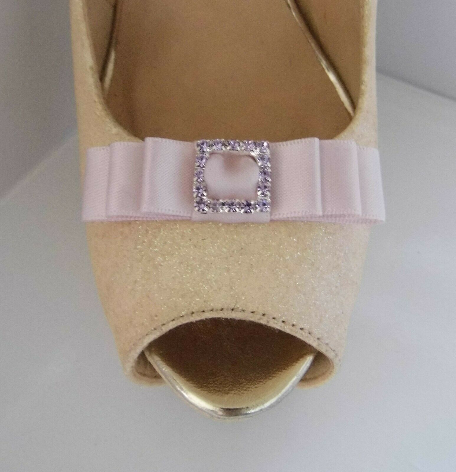 2 Ice Pink Small Satin Bow Shoe Clips with Matching Diamante Buckle Centre