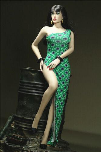 """Custom 1//6 One-shoulder Slit Dress Cheongsam Skirt F 12/"""" Female Clothing Figure"""