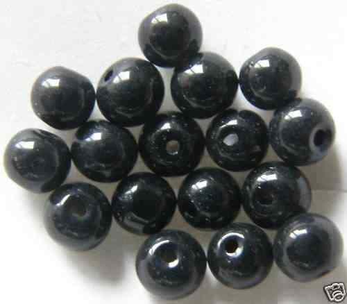 Q14-09 Environ 300 Perles De Verre Boules 4 mm NOIR