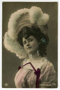 c 1907 Vintage European STYLISH BEAUTY Jewelry hand tinted photo postcard