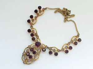 Vintage-16-034-Purple-Paste-Gold-Tone-Necklace