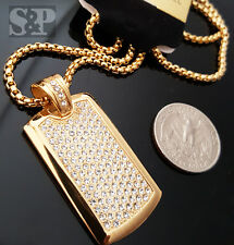"""Gold Stainless Steel Iced out DOG TAG CZ Pendant w/ 24"""" Round Box Chain Necklace"""