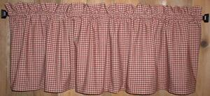 Details about Berry Red Check Homespun Valances Tiers Primitive Country  Curtains Kitchen Cabin