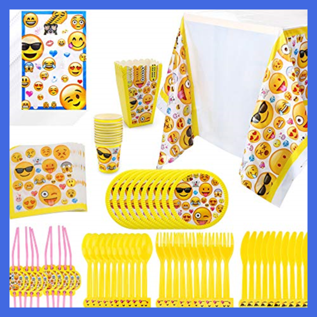 Emoji Birthday Party Supplies 97Pcs Faces Jumbo Pack Table Decor Set Paper Plate