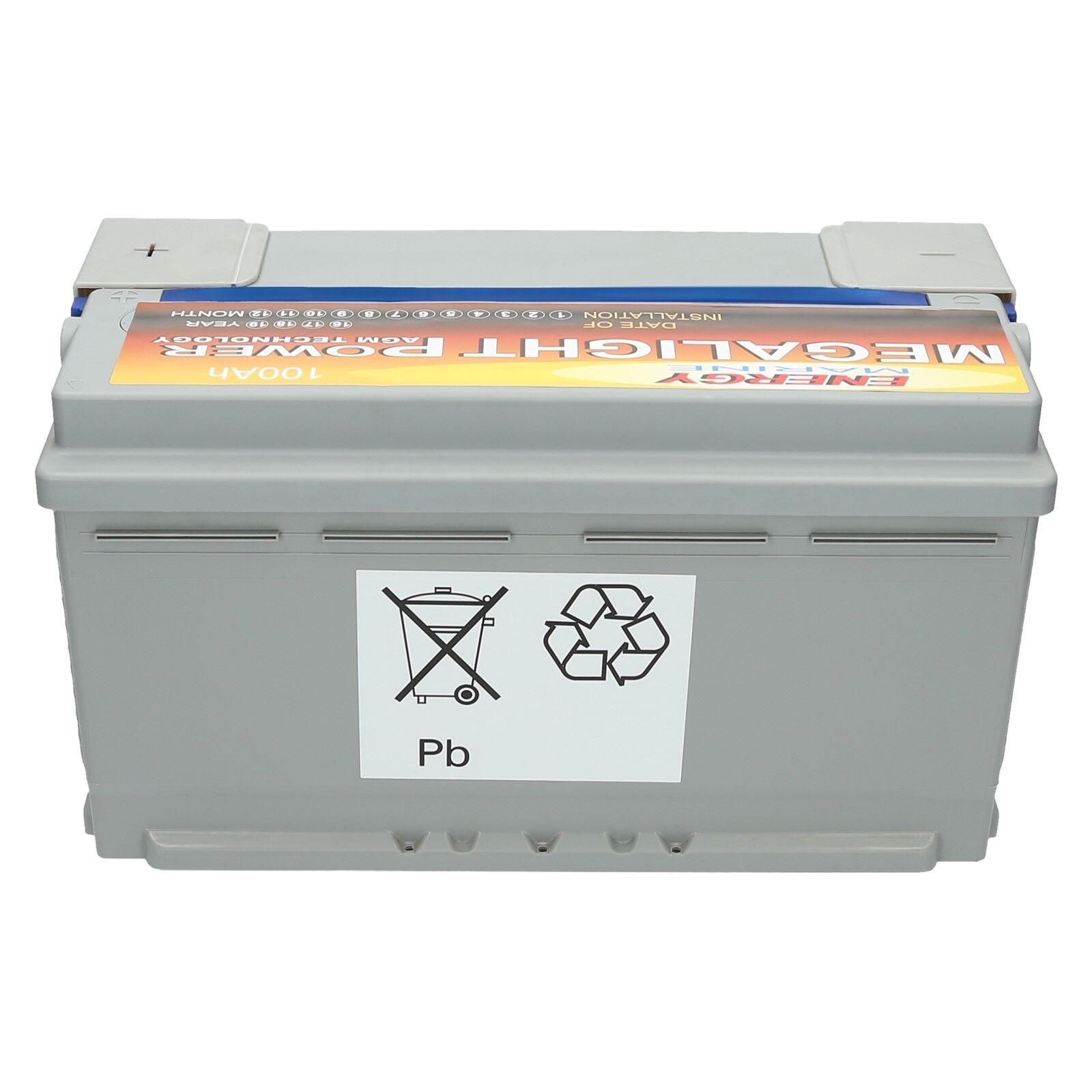 2 x Megalight 12V 100AH AGM Verbindungskabel Batterie + Verbindungskabel AGM für 24 Volt Außenborder 251d16