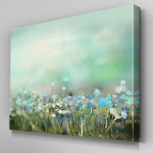 Captivating Image Is Loading FL408 Blue Dandelion Field Canvas Wall Art Framed