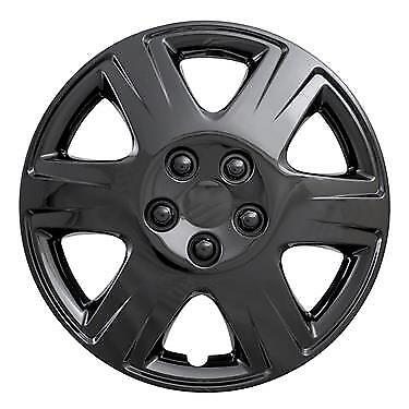 """NEW 2005-2008 TOYOTA COROLLA 15/"""" Gloss BLACK Hubcaps Wheelcover SET"""
