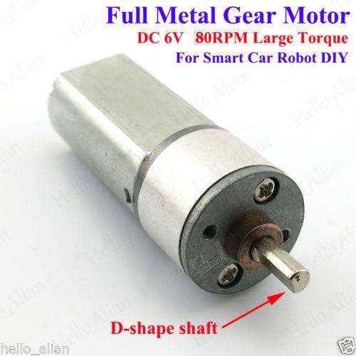 DC 3V-6V 80RPM Full Metal Reduction Gear Motor Large Torque DIY Small Car Robot