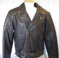 Men's Retro Brown Buffalo Leather Motorcycle Biker Jacket Retail $229 Size 48-52