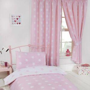 Rose-Blanc-Stars-Entierement-Double-Rideaux-avec-Embrasses-Filles-66-034-x-54-034