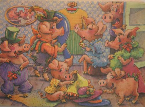 DDR Original Annaberger Puzzle, Schweinchenmodenschau, 200 Teile, OVP RAR!