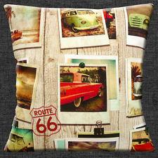 """VINTAGE RETRO VW CAMPERVANS CARS ROUTE 66 PHOTOS Cotton 16"""" Pillow Cushion Cover"""