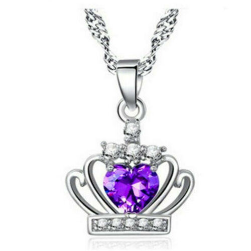 925 Sterling Silver Plated Crown Crystal Pendant Necklace Wedding Party P016