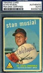Stan-Musial-Psa-Dna-Coa-Autograph-1959-Topps-Authentic-Hand-Signed