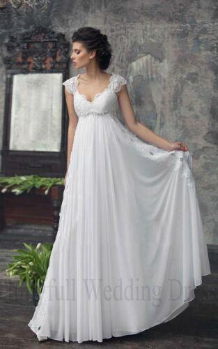 Lace Chiffon 2020 White//Ivory Bridal Gown V Neck Wedding Dress Custom Size 6-26
