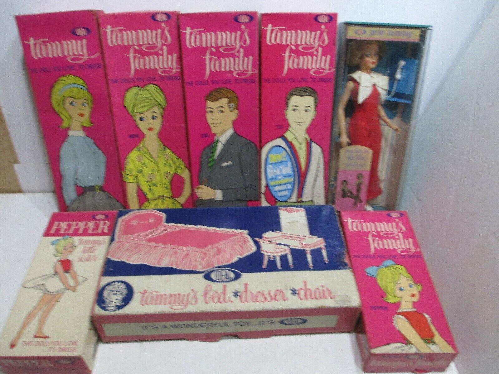 1963 NIB TAMMY FAMILYSETORIGINAL BOX-BOOKMINT DOLLS+OUTFITNEVER PLAYED WITH
