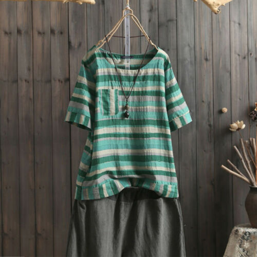 Damenmode Gestreift Bluse Baggy Hemd Lose O Neck Tunika Übergröße Tops Shirt Tee