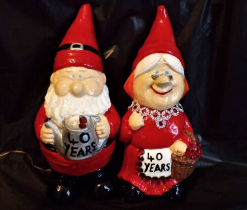 Ruby Wedding Anniversary 40th Mr /& Mrs Gnomes Hand Made Solid Ornament