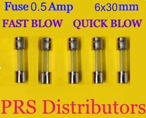 Fuse 0.5A 250V 6X30mm FAST BLOW QUICK BLOW Glass Fuse 0.5 Amp 5 pieces USASELLER