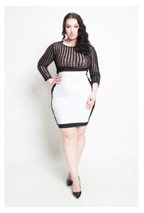 Plus Size Black Sequin Sheer Stripe & White Solid Panel Bodycon ...