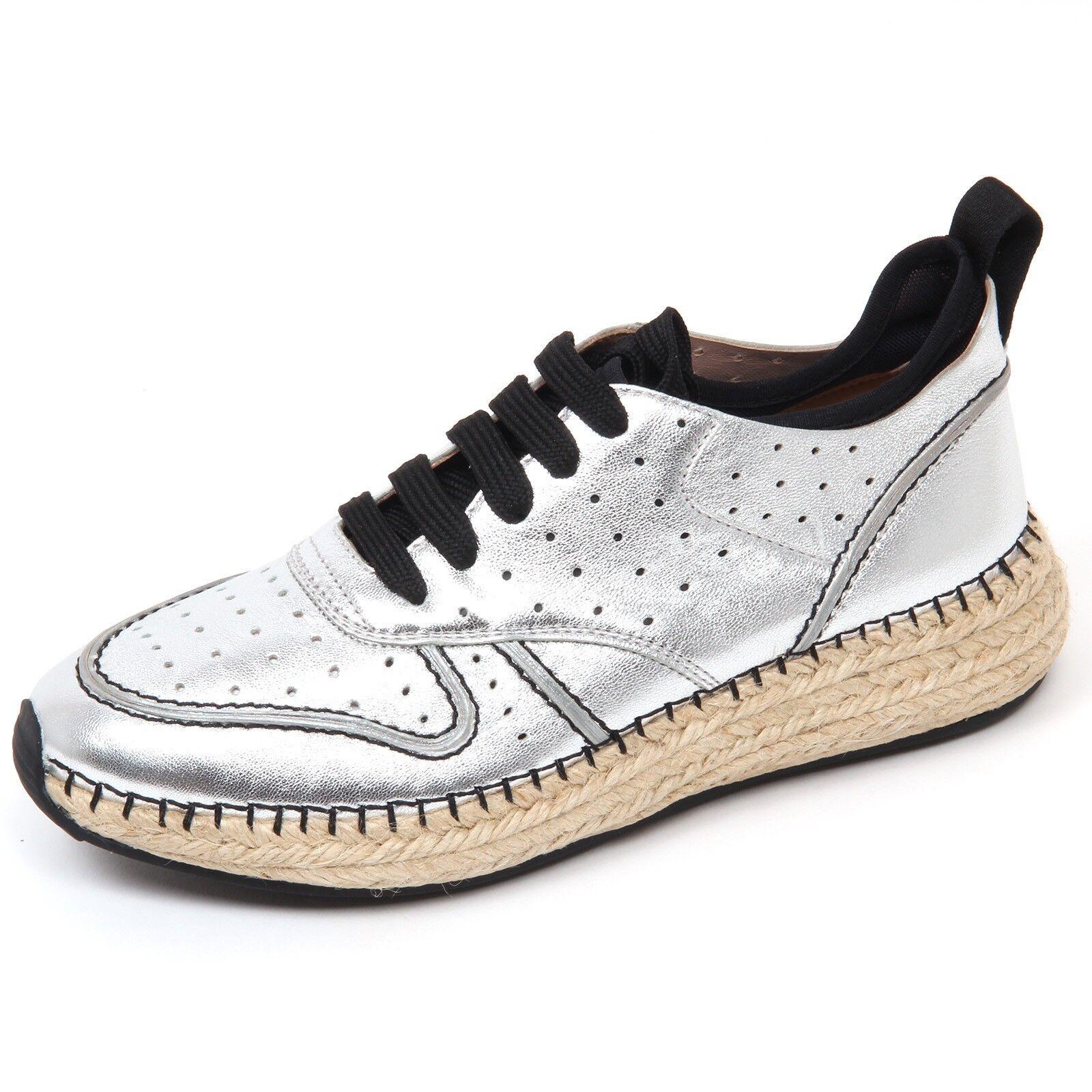 Venta de liquidación de temporada Barato y cómodo D0484 sneaker donna TOD'S scarpa run rafia 29A forata argento/nero shoe woman