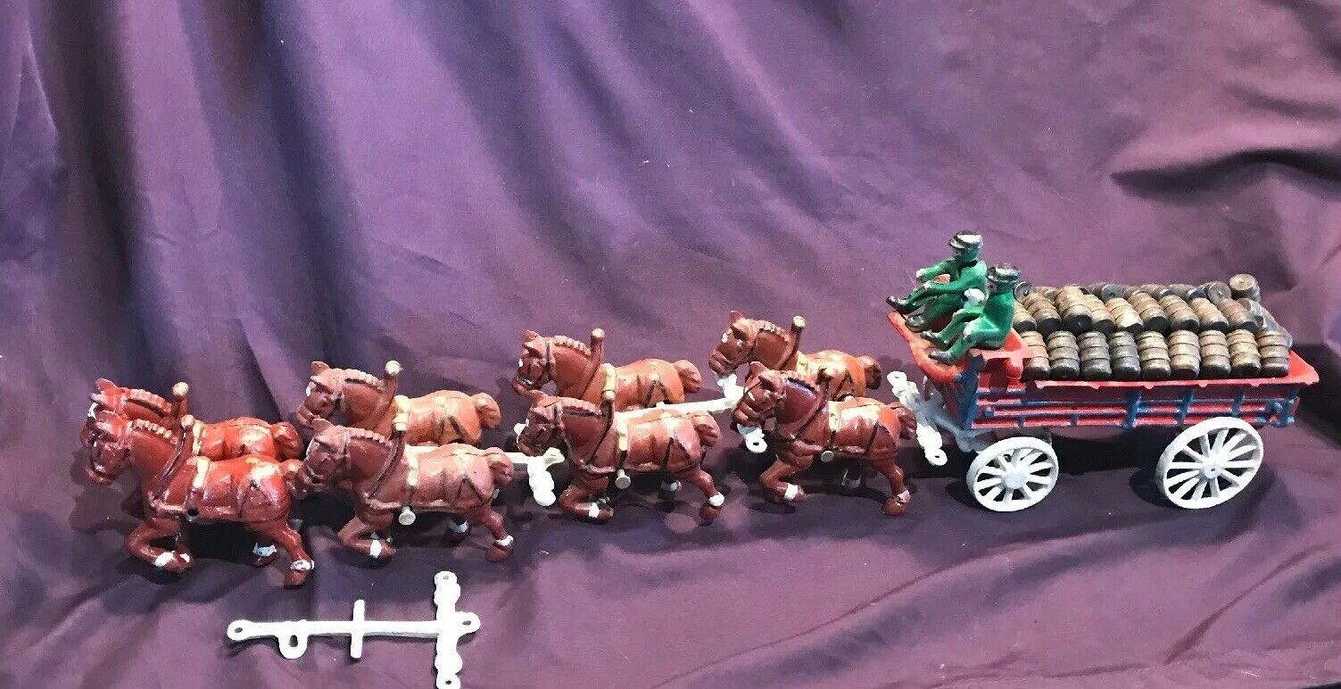 Hierro Fundido Vintage Caballos Barril De Cerveza Vagón Perro controladores Clydesdales Grande Z2