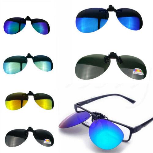 Polarized Lens Anti Glare Clip On Flip Up Sunglasses Glasses Driving UV Hot