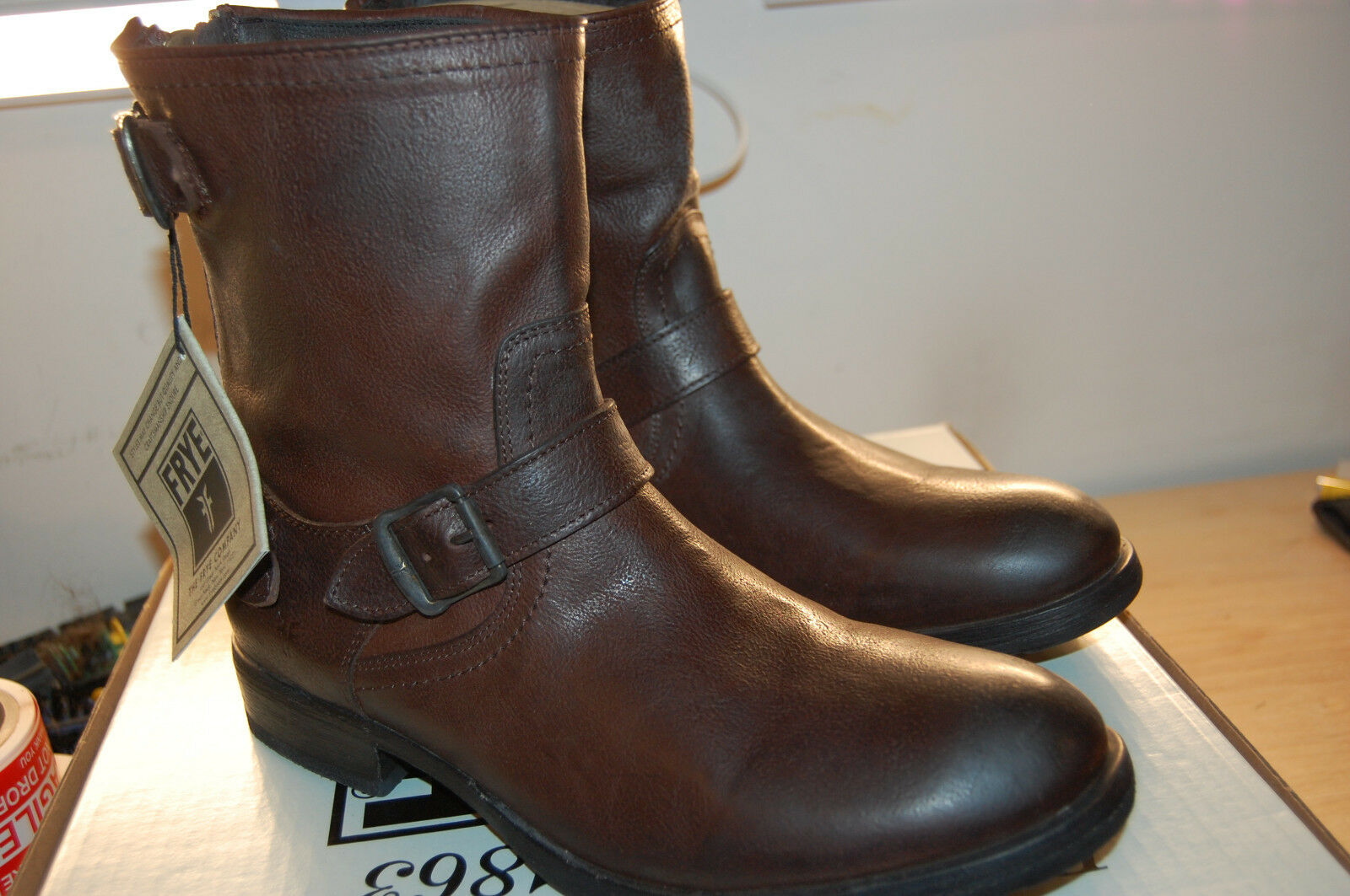 NIB Frye Dean Zip Short  full full full grain Hammered leather Dark Brown Stivali Lined 10 M c50b37
