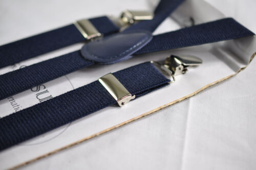 Dusky Dusty Rose  Blush Pink Bow Tie Navy Blue Suspenders Braces for all ages