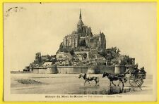 cpa FRANCE 50 - SAINT MICHEL'S ABBEY in 1929 General View ATTELAGE CARRIOLE
