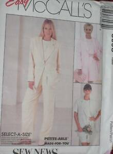 8093 McCalls Vintage Sewing Pattern Misses Jacket Pants Easy SEW FF UNCUT OOP